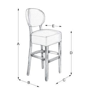 Lisa Round Bar Barska stolica dimenzije - Detal